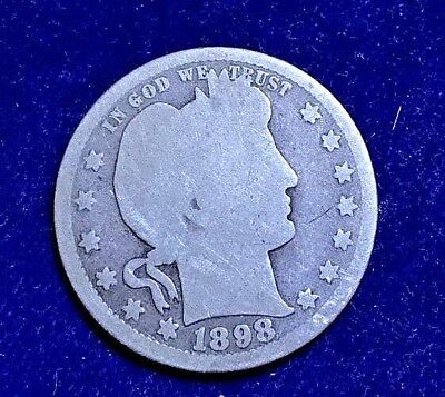 1898-P US Barber 25c -- (90% Silver) - As Shown  **ULTRA LOW FIXED PRICE!!**C96