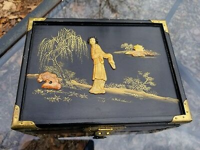 Vintage Black Lacquer Oriental Design Hand Painted and Artist Signed Jewelry Box