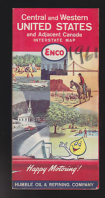 Enco Humble Oil Refining Company Central & Western US Canada Interstate Map 1961
