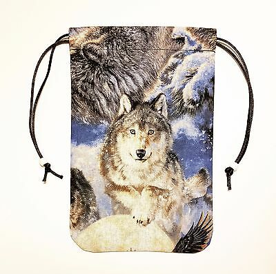 "Lone Wolf Tarot Cards Bag or Pouch Gift Bag 5""x7"" Drawstring Bag Runes Dice"
