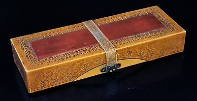 "Antique Chinese Lacquered Leather Box 8 1/2"" X  3 X 1 3/4"""