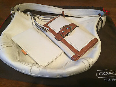 COACH White Leather Set - Purse, Wallet and Checkbook