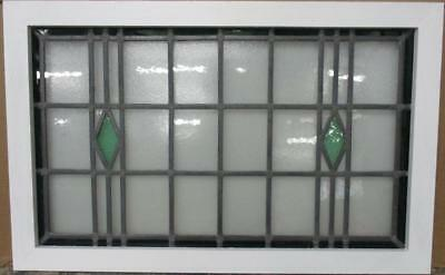 "LARGE OLD ENGLISH LEADED STAINED GLASS WINDOW Simple Diamonds 33.5"" x 21.25"""