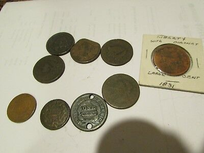 Lot of 7 US Large Cent Coins damaged two two cent pieces 1865 looks 1869 free sh