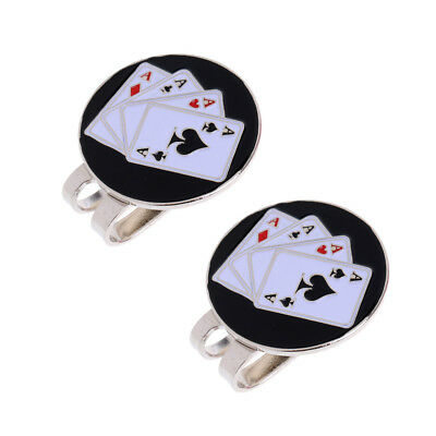 2pcs Golf Hat Clip with Magnetic Golf Ball Marker Cap Clip Poker Cards Birds