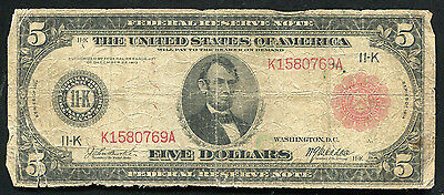 FR. 842b 1914 $5 FIVE DOLLARS RED SEAL FRN FEDERAL RESERVE NOTE DALLAS, TX