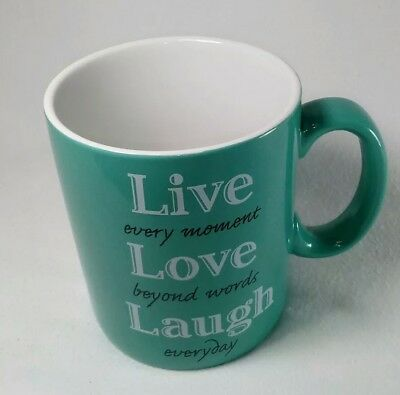 Huge JUMBO 28 oz 10 Strawberry Street Live, Laugh, Love Teal Blue Coffee Mug Cup