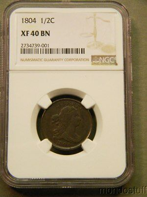 Excellent 1804 U.S. Half Cent NGC XF40 BN Coin