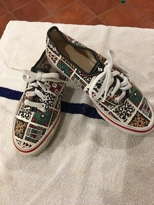 Vintage VANS ~ MADE IN USA ~ TRIBAL HOLIDAY PRINT Boat Skate Sneakers SHOES 6.5