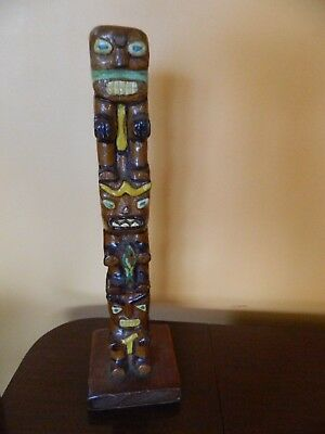 "vintage hand carved totem pole 13"" tall from BRITISH COLUMBIA very Unique*"