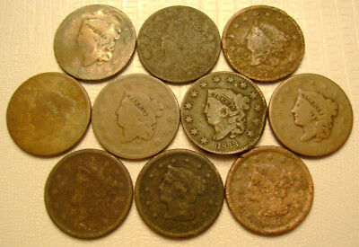 10 Different Coronet and Braided Hair Large Cents old US coins No Reserve