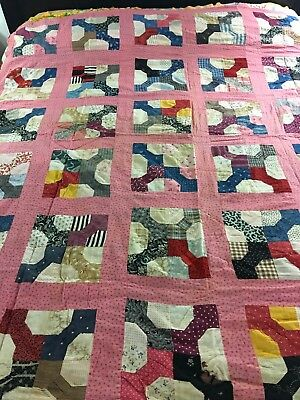 """Vintage Handmade Four Bow Ties In A Block Quilt Top Hand Sewn 66"""" X 67"""""""