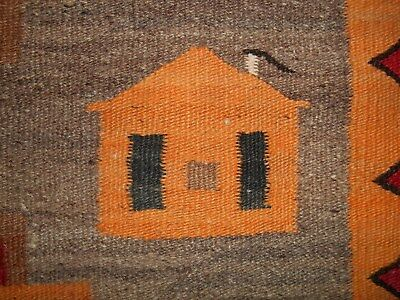 Old NAVAJO NAVAHO Indian Pictorial Rug w/Interlocking Stepped Crosses & Houses