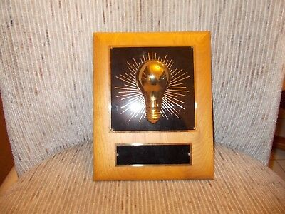 Genuine Walnut plaque. Commemorate Bright Idea. Free Engraving and Free Shipping