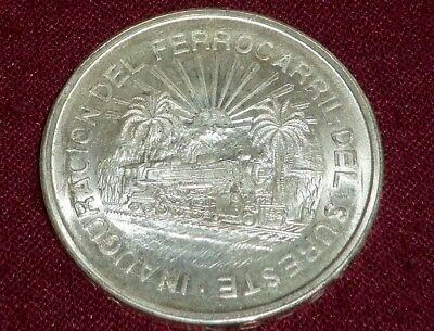 Scarce 1950 Mexico Silver 5 Peso, Southern Railroad, Nice Unc, 1 Year Only!