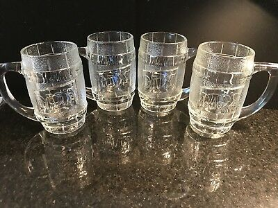 Vintage Lot of 4 Dad's Root Beer Clear Embossed Barrel Glass Mugs ~ Heavy Duty