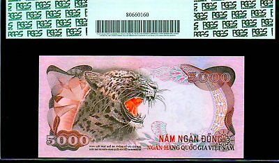 "SOUTH VIETNAM P35a 1975 ""LEOPARD"" 5000 DONG PCGS 67PPQ SUPERB GEM! RARE & FINEST"