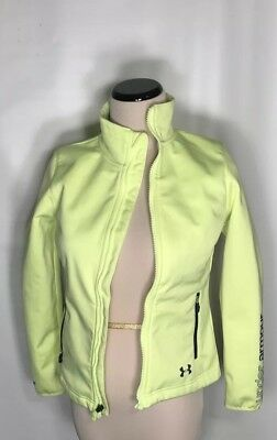 Under Armour COLDGEAR SOFTER SHELL Girls Youth Small Zip Jacket Neon Yellow