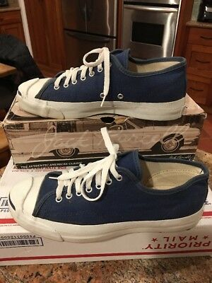 Vintage Jack Purcell Made In USA Converse Sneakers Blue, M 8, W 10 Original Box!