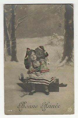 "Lot of (5) tinted RPPCs, ""Bonne Annee"", Happy New Year, France, ca1910s-20s"