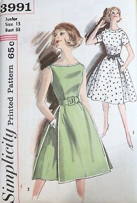 Vtg 1960s Simplicity 3991 Flared Pleated Skirt DRESS Sewing PATTERN 13 33 bust