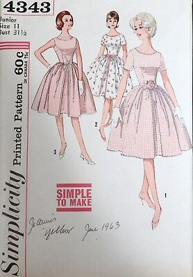 Vtg 1960s Simplicity 4343 Full Skirt Party Dance DRESS Sewing PATTERN 11 31 bust