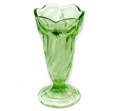 Vintage Sowerby green depression glass swirl large heavy vase 20cm