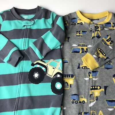 Carters Blanket Sleepers Size 2T Pajama Lot Of 2 Back Hoe Construction Tractor Z