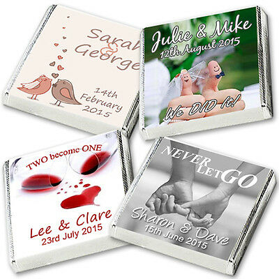 100 Personalised Chocolate Wedding Favours, Best on Ebay *WRAPPED* FREE POST