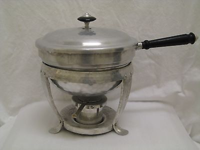 Vintage Hammered Aluminum Chafing Warming Dish Bowl Spain Excellent