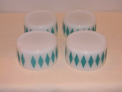 Set of 4 FIRE-KING Turquoise DIAMONDS Stackable Soup/Cereal BOWLS. RARE HTF