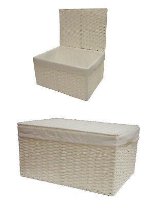 White Paper Rope Storage Basket Box With Lid & Removable Inner Cloth Set of 2