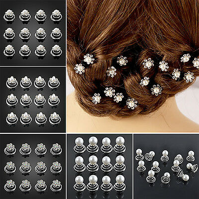 12x Beauty Wedding Diamante Crystal Hair Twists Swirls Pins Spirals Pearl Flower