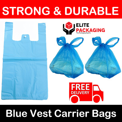 "1000 x BLUE PLASTIC CARRIER BAGS 11x17x21"" 19MU SHOP SUPERMARKET RETAIL STALL"
