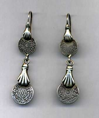 OLD Authentic Moroccan Silver Fatima's hand Earrings Morocco