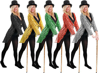 Adult Sequin Tailcoat Unisex Cabaret Fancy Dress Circus Ringmaster Dance Costume