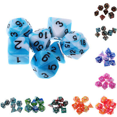 7X Polyhedral Dice D12 D10 D8 D6 D4 16mm for Dungeons and Dragons Dice DND Game