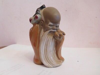 Early Chinese Mud Man Sage Figurine  .signed ? #3