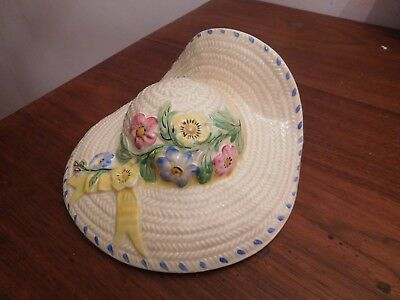 Found*vintage Art Deco Ceramic Wicker Bonnet Wall Pocket Yellow,red, Blue Floral