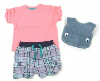 Baby Boys 3 Piece Set Shorts T Shirt Bib - Outfit - Gift Set - 3 In 1