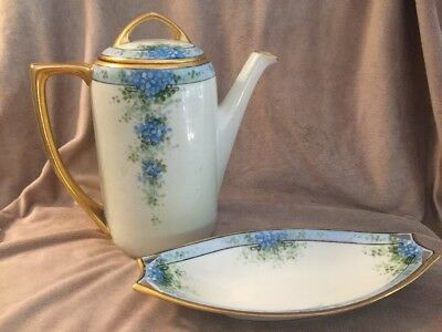 Mz Austria Antique Teapot and Dish with Blue Flower Pattern