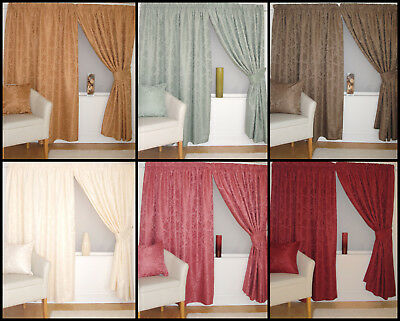 Lana Traditional Jacquard Ready Made Pencil Pleat Curtains With Floral Pattern