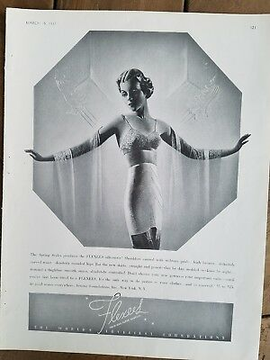 1937 women's flexees twin and super control girdle bra garters fashion