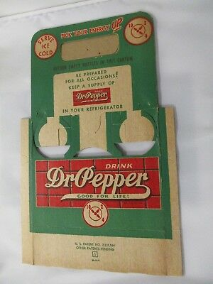 """Dr Pepper """"rare"""" Cardboard Six Pack Carrier From The 1940's"""