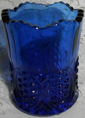 Blue Vaseline uranium glass toothpick / match holder H.B. pattern canary cobalt