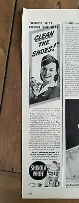 1944 Shinola white shoe polish American airline stewardess Hannah Voight ad