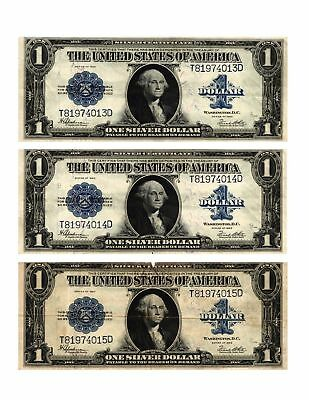 3 1923 $1 Lg Size SILVER CERTIFICATE Consecutive Serial Numbers Circulated