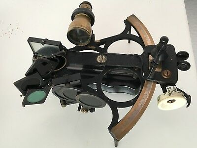 Antique Brass Husun Sextant in Box