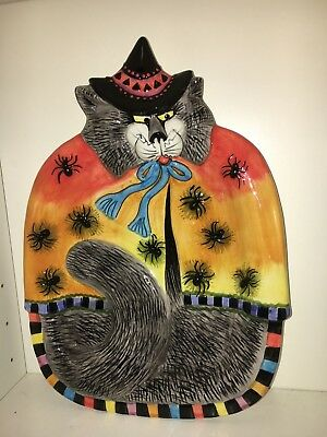 Fitz and Floyd Art Kitty Witches Halloween Ceramic Pottery Plate Platter Tray