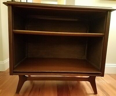Mid Century Vintage Walnut Bookcase Shelf, Rm. Divider Tapered Leg Elevated Base